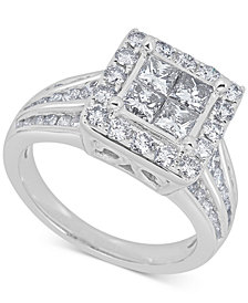 Diamond (2 ct. t.w.) Cluster Ring in 14k White Gold