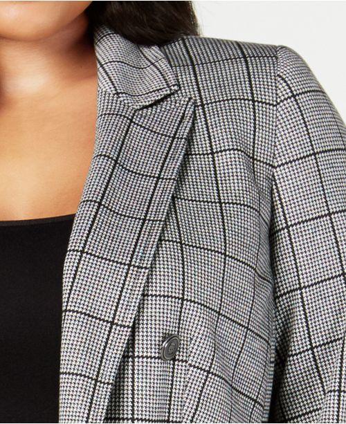 99ee372e3bdf7 Kasper Plus Size Open-Front Double-Breasted Blazer   Reviews ...