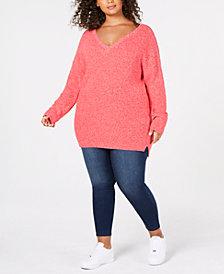 525 America Plus Size Cotton Marled-Knit Sweater