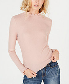 American Rag Juniors' Lettuce-Edge Ribbed Top, Created for Macy's