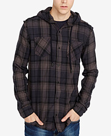 Buffalo David Bitton Men's Classic Fit Hooded Plaid Sidron Shirt