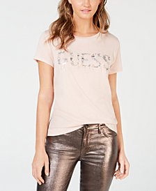 GUESS Beaded-Logo T-Shirt