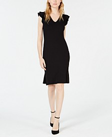Ribbed Ruffle-Shoulder Sheath Dress, Created for Macy's