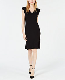 Bar III Ribbed Ruffle-Shoulder Sheath Dress, Created for Macy's