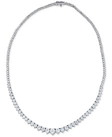 "Diamond Graduated 17"" Statement Necklace (5 ct. t.w.) in 14k White Gold"