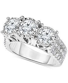 TruMiracle® Diamond Three-Stone Engagement Ring (3 ct. t.w.) in 14k White Gold