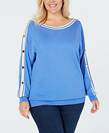Charter Club Plus Size Button-Trimmed Sleeve Top, Created for Macy's