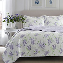 Laura Ashley King Keighley Pastel Purple Quilt Set