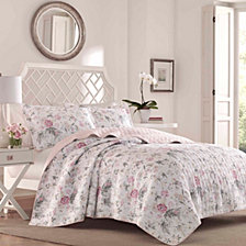 Laura Ashley Full/Queen Breezy Floral Pink Quilt Set