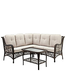 4-Piece Random Weave Sectional with Cushions - Brown