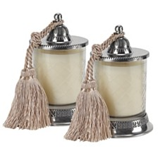 Badash Crystal Candle Jar with Vanilla Scented Candle and Silk Knotted Tassel - Set of 2