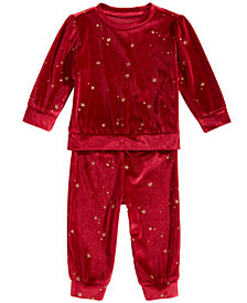 First Impressions Baby Girls 2 Pc. Glitter Velour Sweatshirt & Pants Set, Created for Macy's