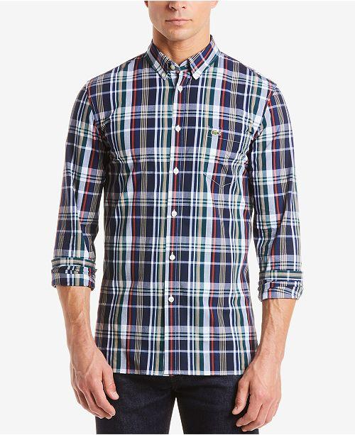 6fb4b34f70553e Lacoste Men s Slim-Fit Plaid Poplin Shirt   Reviews - Casual Button ...