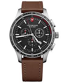 Men's Swiss Chronograph Alliance Sport Brown Leather Strap Watch 44mm