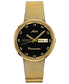 Men's Swiss Automatic Commander Classic Gold-Tone PVD Stainless Steel Mesh Bracelet Watch 37mm