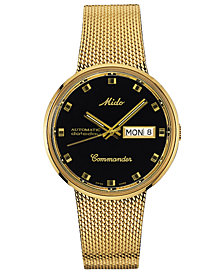 Mido Men's Swiss Automatic Commander Classic Gold-Tone PVD Stainless Steel Mesh Bracelet Watch 37mm