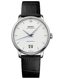 Men's Swiss Automatic Baroncelli III Black Leather Strap Watch 40mm