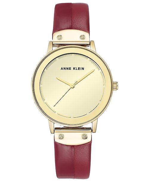 Anne Klein Women's Red Leather & Red Patent Faux Leather Strap 35mm