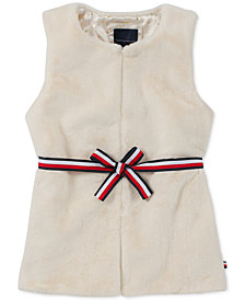 Tommy Hilfiger Big Girls Ribbon-Tie Faux-Fur Vest