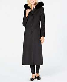 Anne Klein Fox-Fur-Trim Hooded Walker Coat