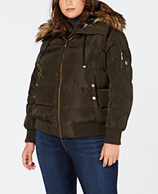 MICHAEL Michael Kors Plus Size Faux-Fur-Trim Hooded Bomber Coat