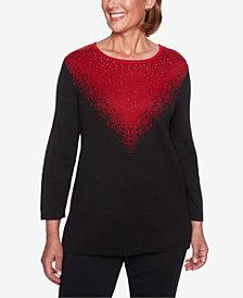 Alfred Dunner Metallic Ombré Sweater