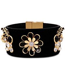 GUESS Gold-Tone Crystal & Stone Flower Magnetic Velvet Bracelet