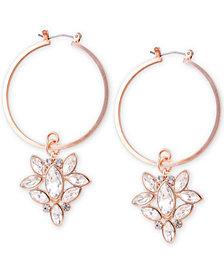 GUESS Rose Gold-Tone Crystal Charm Hoop Earrings