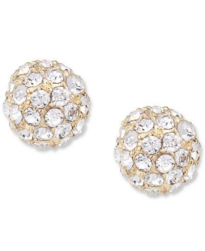Carolee Earrings, Glass Accent Spherical Stud Earrings