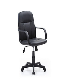 Mid-Back, Adjustable Height, Swiveling Office Chair Upholstered in Black PU Leather