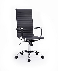 Ribbed PU Leather, High-Back, Adjustable Height, Swiveling Executive Chair with Chrome Base