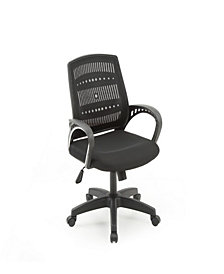 Mesh, Mid-Back, Adjustable Height, Swiveling Office Chair with Padded Seat in Black
