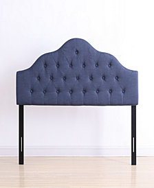 King-Size Upholstered Tufted Rounded Headboard