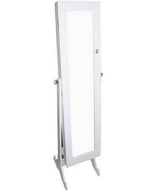 Hodedah Tall Standing Mirror with Jewelry Storage