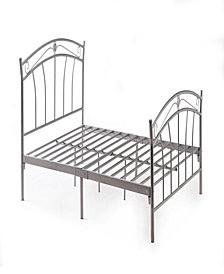 Complete Metal Twin-Size Bed with Headboard, Footboard, Slats and Rails in Silver
