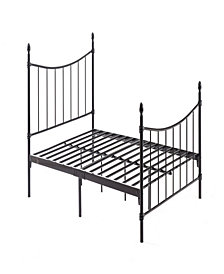 Complete Metal Queen-Size Bed with Headboard, Footboard, Slats and Rails in Black