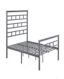 Complete Metal Twin-Size Bed with Headboard, Footboard, Slats and Rails in Grey