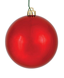 "Vickerman 4.75"" Red Shiny Ball Christmas Ornament, 4 per Bag"