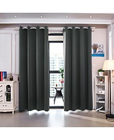 "72"" Delphi Premium Solid Insulated Thermal Blackout Grommet Window Panels, Smoke Grey"