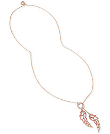 "Betsey Johnson Rose Gold-Tone Pavé Angel Wings 30"" Lariat Necklace"