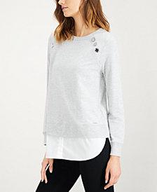Calvin Klein Embellished Chiffon-Hem Top