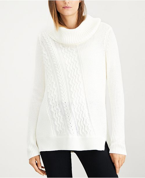6843c05729 Calvin Klein Cable-Knit Cowl-Neck Sweater   Reviews - Sweaters ...