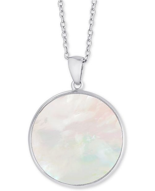 """Macy's Mother-of-Pearl Disc 18"""" Pendant Necklace in Sterling Silver"""