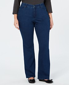Charter Club Plus Size Prescott Bootcut Tummy-Control Jeans, Created for Macy's