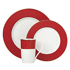 Lenox Pleated Colors Red 3 Piece Place Setting