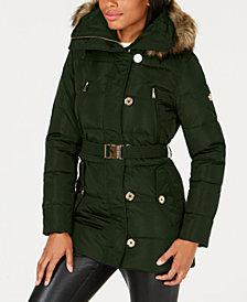 MICHAEL Michael Kors Petite Faux-Fur-Trim Hooded Coat