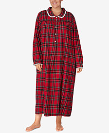 Lanz of Salzburg Plus Size Printed Cotton Flannel Nightgown