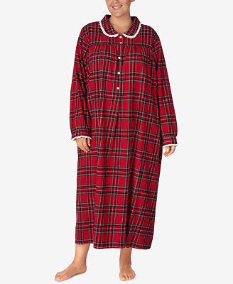 Lanz Of Salzburg Plus Size Printed Cotton Flannel Nightgown Bras
