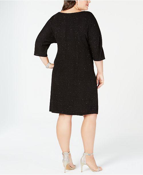 6ac95ea9e4b Robbie Bee Plus Size Faux-Wrap Glitter Dress - Dresses - Women - Macy s