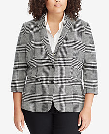 Lauren Ralph Lauren Plus Size Glen Plaid Blazer
